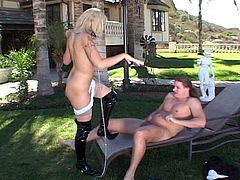 Outdoor anal hammering experience as this flirty blonde slut opens wide while huge boner sticks inside her tight ass.