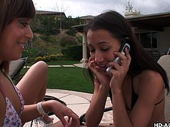 A brunette babe receives a text message, while sun tanning with her friend. She seems thrilled at the thought of spending some nice moments with a horny guy and hurries up, to satisfy the dude and honor the kinky invitation. See the slutty lady with small tits and sexy smile, sucking cock, and balls with passion!