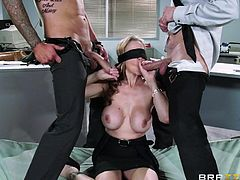 Julia Ann has a huge crush on her hunky coworkers and today, they want to get nasty right in the office. The taste of their dicks is even better, because she is blindfolded.