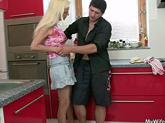My Wifes Mom brings you a hell of a free porn video where you can see how this mature blonde gets banged very hard in the kitchen while assuming very hot positions.