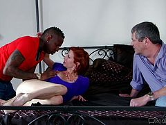 If real-life scenarios turn you on, don't hesitate to click! A busty redhead mature likes to pose in the garden, showing her tits with sheer generosity. Once inside in the bedroom, the sexy bitch has the occassion to enjoy exciting moments in the company of a black guy, who passionately performs a rim job.