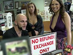 How much cold, hard cash will this sexy bitch make by putting on a mermaid costume and getting in the swimming area topless? This guy and these hot chicks head into the pawn shop for a kinky dare. Will he do it for money?