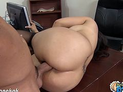 Sensational brunette asian Jessica Bangkok wearing black stockings is getting fucked at her office. She is one hell of a horny secretary who services her boss with a fine fucking after office hours.