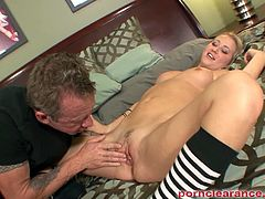 Cutie Casi James is late at school and decided not to go as she pretends being sick which her stepfather will not tolerate but instead got exploited by him punishing her through rough fucking.