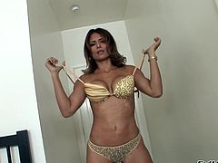 Monique Fuentes takes the huge cock in her mouth for a suck and hardcore blowjob with a hot and wild cumshot load.