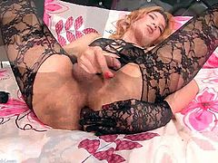 Lady boy in stockings wanks off solo. Lisha is alone so she decide to give us one horny masturbation show. She strokes her cock while fingering her wet ass.