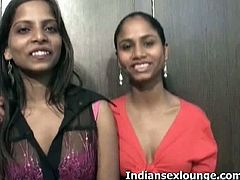 Nisha and Sheetal are two brunette girls from Bombay. They strip, dance and play with each others natural boobies. They are not shy at all and their bodies are slim.