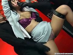 Hardcore Punishments brings you a hell of a free porn video where you can see how this Jap girl gets bound and masturbated very hard by a girl and 2 guys while assuming hot positions.