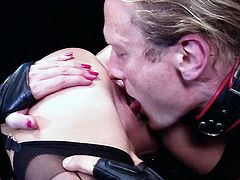 Blonde busty MILF Georgie Lyall gets her gimp to lick and fuck her pink pussy. This dominatrix sure knows how to fuck!