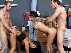 Horny pornstars get fucked doggy style in an enticing foursome clip