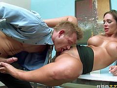 Gorgeous office babe Destiny Dixon with huge tits and round ass gives footjob to Bill Bailey before he gives her pink pussy a lick. They have a nice time doing it at work place.