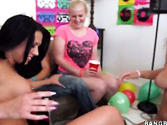Rachel Starr gets used like a fuck toy by horny lesbian Luna Star