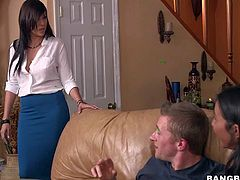 Stephani Moretti has a great time sucking her boyfriends hard dick in the sitting room., But her sexy sexy roommate Jazmyn is hungry for dick too! They give blow job together and bring him to the edge on nirvana!