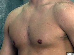 Amazing gay couple Andrew Blue and Hunter Ford are in the shower and they start laying on the floor fucking each others asses out until they cum on their tummy.