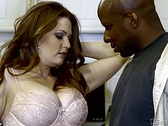 This nasty slut is sick of her white husband and she wants, to suck on some big black cock instead. She makes her white husband watch, as she sucks on big black dong and he is so humiliated. She will only have black cock from now on.