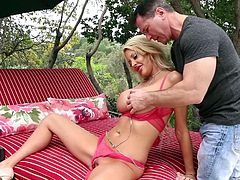 Courtney Taylor was just lounging around in a park on a lazy Sunday. But this whore had no idea, that a hot guy would start fingering her from absolutely nowhere! She was startled, but Courtney is a slut and she doesn't let such opportunities go. Watch her take his dick all the way down into her throat.