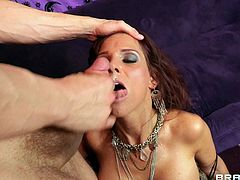 Cougar with long hair awarding her horny guy with blowjob before moaning while her anal is being drilled hardcore til she gets facial cumshot