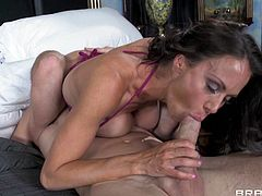 Marvelous cougar with hot ass giving her horny guy blowjob before getting her pussy licked and her anal pounded hardcore till the he cums in her mouth