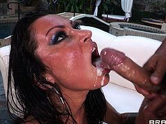 This lovely MILF sluttie likes to take a huge cock in her mouth for a suck in a hardcore blowjob and gets her shaved pussy screwed in hot orgasm.