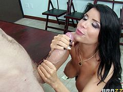 Icy hot brunette cougar in a sexy miniskirt and high heels fondling her big tits as she gets licked then bends over and yells as she gets hammered