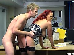 Beautiful redhead cowgirl in nylon stocking giving her guy titjob before yelling while being pounded hardcore doggystyle