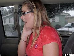 Todays Bang Bus update is all about cute amateur girl Kendra Lynn. This cash hungry college chick with glasses is extremely sexy in her short black skirt and red blouse.