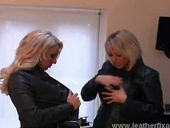 Dannii and Lucy are two busty blonde babes who are simply in love with leather gloves and pretty much any outfit that is made out of leather. They touch each other sexually.