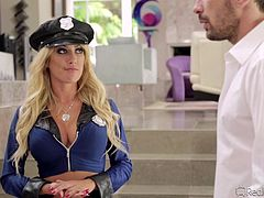 Sergeant Capri Cavanni gets a tip that Manuel is alone in the house and needs some quick fucking. Without wasting any time she gets to his doorstep. After conducting a usual search, she realizes that Manuel is hiding a big cock in his pants. So, she demands to use it