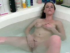 Holly is a milf with a big tits. She is very Lonely in her home. She decided to go for a bath. During her bathing, she trying to do some naughty things. So, she starts squeezing her boobs, than she spreads her legs and rubbed her cunt slowly, enjoying the bath.