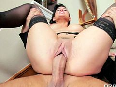 This horny hottie loves to take a big cock in her mouth for a suck in a nice blowjob and gets her shaved pussy nailed doggystyle hardcore.