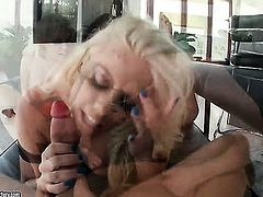 Blonde Britney Amber with gigantic hooters asks her man to stick his beefy rod in her mouth