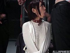 Nanase is on the end of the leash held by her mean master. She sucks on each and every one of the cocks, before they use a speculum, to spread her pussy open nice and wide. Look at how far you can see into her vagina.