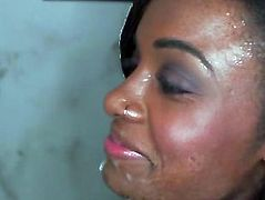 Ebony gloryhole blowjob slut facialized