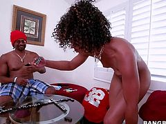Curly haired ebony babe Misty Stone displays her tiny tits before she bares her bubble butt. She shakes her amazing bottom and then takes thick black dick in her hot mouth.