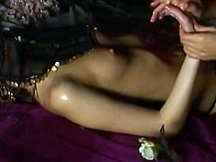 Lesbians with Natural Tits in Bra and Thong gets her sexy body oiled and massaged passionately as her tits and pussy teased