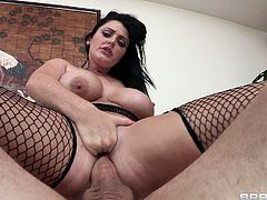 Hot ass Sophie Dee takes the huge cock in her mouth for a hot blowjob and her pussy gets nailed doggystyle hardcore.