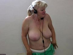 BBW granny with big tits dancing