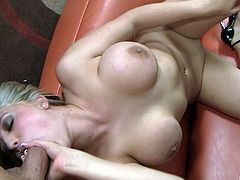 Busty cock sucking blonde fingering her cunt while giving head