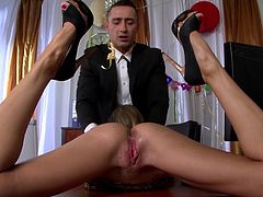 Slutty Cayenne Klein is close to having her shaved pussy destroyes by having a wild fuck at work with her needy boss
