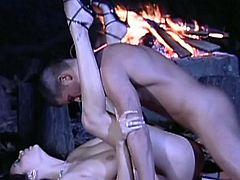Brunette in high heels gives double blowjob and crashed in MMF threesome