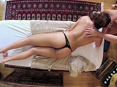 Marvelous brunette cowgirl in shorts aroused from a massage then gets drilled hardcore