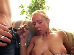 Captivating cowgirl in socks pose lovely before giving heavy dick blowjob and getting pinned hardcore missionary on sofa in a threesome sex