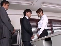 Erotic Japanese Office lass has Threesomed in An Office