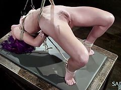 Kristina is a real whore and she does not like to have sex like others. She loves to be tortured and violated. Watch this beautiful chick scream in pain, as her nipples are clamped really hard. It might look like she is in pain, but the truth is, she loves the pain. The pain makes her go all wet in her pussy and she is ready to take any dick, that wants to get in.