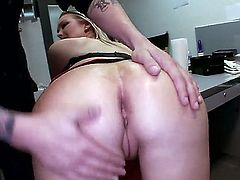 Curvy blondie Abbey Brooks with huge tits and bubbly butt opens her legs on a desk in the back room and gets her pink pussy licked and fingered by curious guy before he finds his dick sucked.