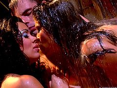 Alexis and Sienna are two hot babes, who love men. But when there is only one guy, they don't really mind sharing him either. And if you were to ask Ralph, he'd tell you he doesn't mind either. Watch Ralph lying all relaxed in the rain, while Sienna and Alexis shower him with a lot of love. They rub their hot bodies on him and make sure his dick gets royal treatment.