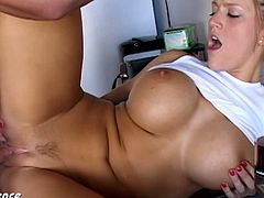 Busty college babe fucked in the kitchen. This is one of her horny shenanigans she's ready to share the world. Ultra sexy blonde college babe Eve Laurence fucking a large cock.