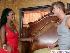 Superb black girlfriend in mini red dress Layton Benton gets shaved pussy fucked and cum filled by a big white cock