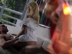 Slim blonde Erica Fontes in virgin white blouse gives slow blowjob with her sexy ass up before she takes her fuck buddys rock solid dick up her wet tight pussy She loves riding his love bone!