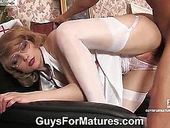 Woman clothed as a nurse sucks rod chap